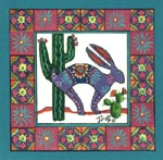 Rabbit cactus southwest art #172
